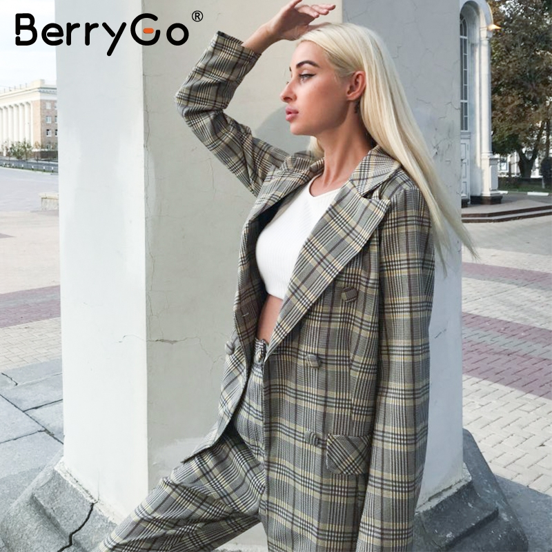 BerryGo Office Ladies Plaid Blazer Sets Two-piece Double Breasted Women Blazer Pants Suits Casual Streetwear Ladies Trousers Set