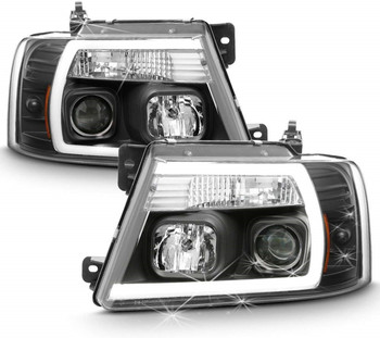 SulinsoFor NEW Black 2004 2005 2006 2007 2008 Ford F150 LED Light Tube Projector Headlights Driver & Passenger Side