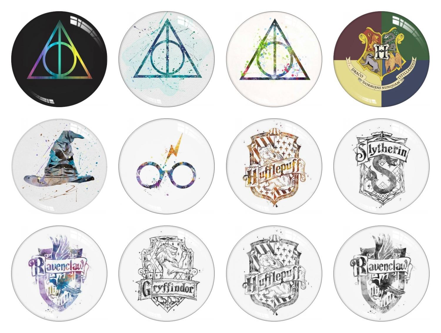 Potter Badge Glass Snap Button Jewelry Round Photo Cabochon FlatBack 10mm 12mm 14mm 16mm 18mm 20mm 25mm 30mm DIY Jewelry Making