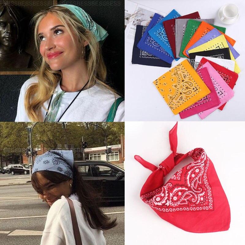 Женская повязка для волос с богемным принтом, повязка на голову, шарф, маска для лица, повязка на голову 55cmX55cm|Женские аксессуары для волос|   | АлиЭкспресс