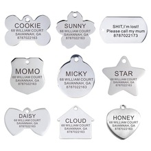 Personalized Pet ID Tag Engraved Stainless Steel Name Tags Collar Accessory Pendant Customized Free Engraving Dog Cat Nameplate
