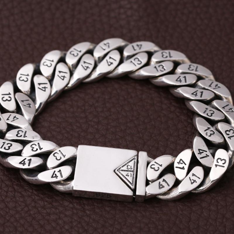 Мужской браслет из чистого 925 пробы серебра, Ширина 16 мм, треугольная розетка с замком, полированная цепочка, мужской Байкерский серебряный браслет 1314 - 4