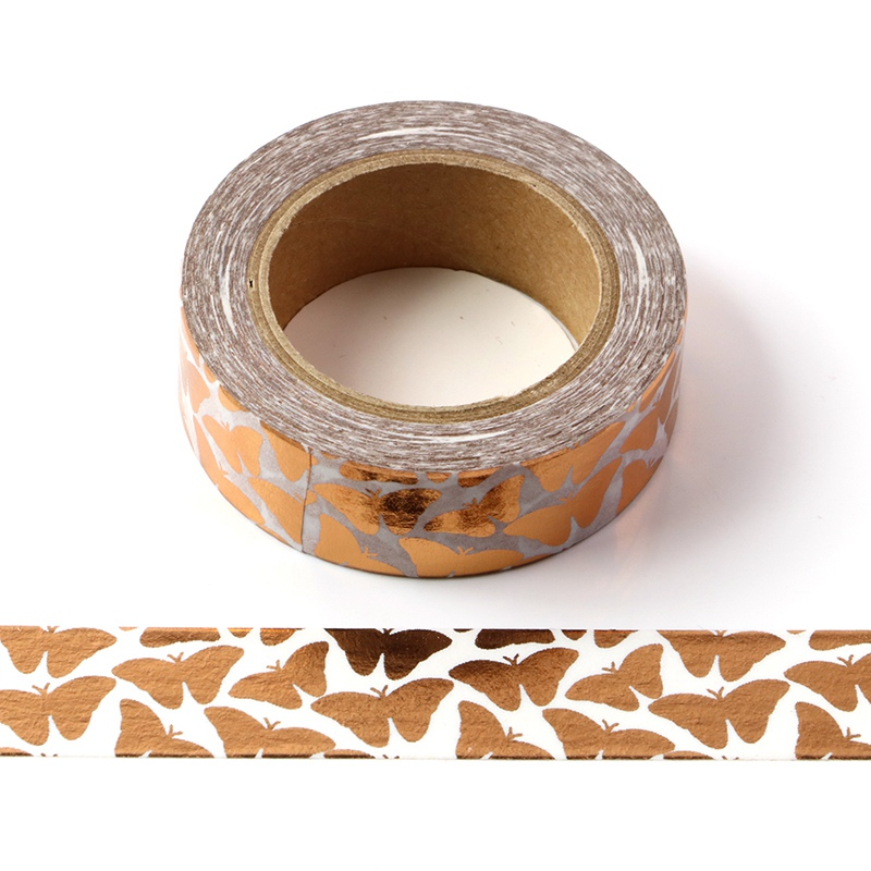10M Cute Decorative Copper Foil Washi Tape Butterfly DIY Scrapbooking Sticker Label Japanese Masking Tape School Office Supply
