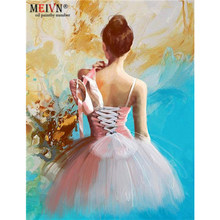 Meivn Frame Diy Oil Painting By Numbers Ballet Shoes Acrylic Paint By Numbers Kit Canvas Painting Wall Art For Home Decors Gifts(China)