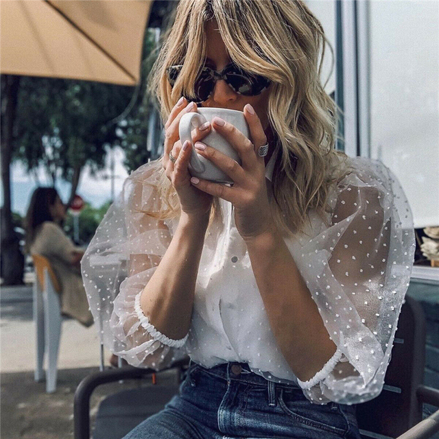 2019 Hot Sale White Transparent Sexy Women Hollow Sheer Mesh Puff Sleeve Blouse Lace Shirt Button Tops Perspective Female Shirt 4