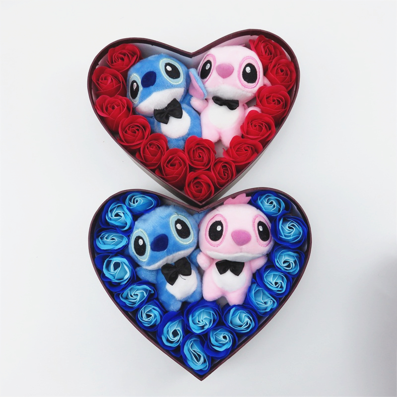 Hand Made Low Price High Quanlity Pink And Blue Stitch Plush Toys With Soap Flowers Stitch Bouquet Creative Valentine's Gifts