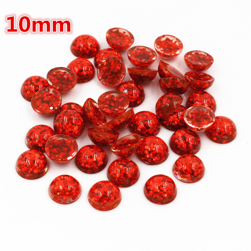 New Fashion 40pcs 10mm Red Color Flat Back Resin Cabochons Cameo  O6-16