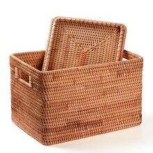 Cesta de lavanderia em rattan, cesta de armazenamento feita à mão, grande capacidade, portátil, para roupas, itens domésticos internos