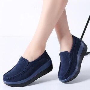 Image 1 - 2019 秋の女性のプラットフォームスニーカー靴革スエード厚い底オックスフォード女性モカシンレディース 3213