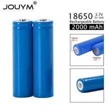 Перезаряжаемая батарея ICR18650, 3,7 в, 2000 ма · ч, с заостренным наконечником (без пхд), для фонариков, литий-ионный аккумулятор 18650, 2020