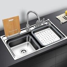 Fregadero de cocina de acero inoxidable con tabla de cortar, estante sobre encimera o montaje en udermount, fregadero individual, fregadero de lavado de verduras, cocina