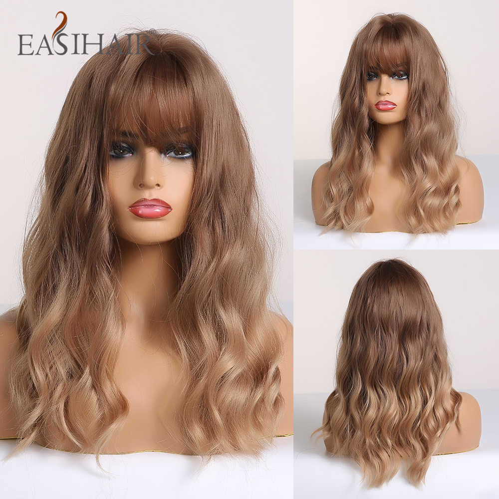 EASIHAIR Brown to Blonde Ombre Synthetic Wave Wigs with Bangs Medium Length Wigs for Women Wavy Cosplay Hair Wigs Heat Resistant