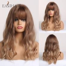 EASIHAIR brązowy do blond Ombre syntetyczna fala peruki z grzywką średniej długości peruki dla kobiet faliste Cosplay włosów peruki żaroodporne