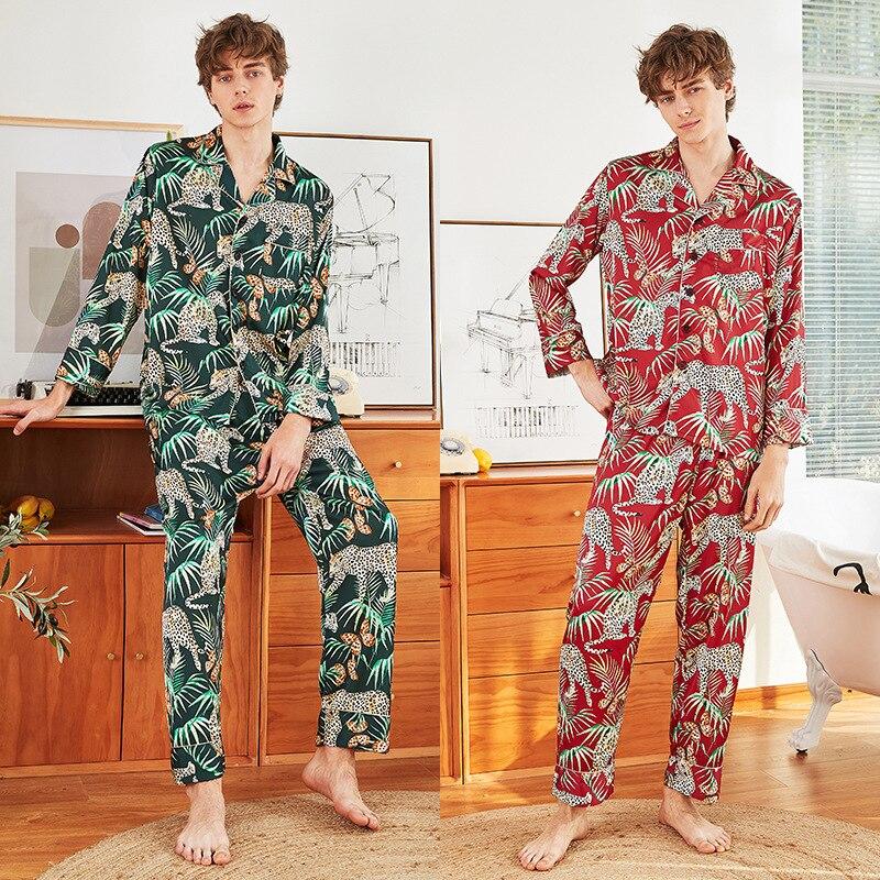 Men's Silk Satin Pajamas Pyjamas Set Long Sleeve Sleepwear Printed Spring Summer Men Sleep Home Wear Male Tops Bottoms Plus Size