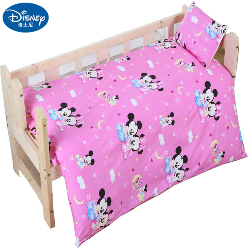 Disney 100% Cotton Baby Bedding Set Newborn Cot Duvet Mickey Mouse Minnie Crib Sets Cot Set Duvet Cover Pillowcase Flat Sheet