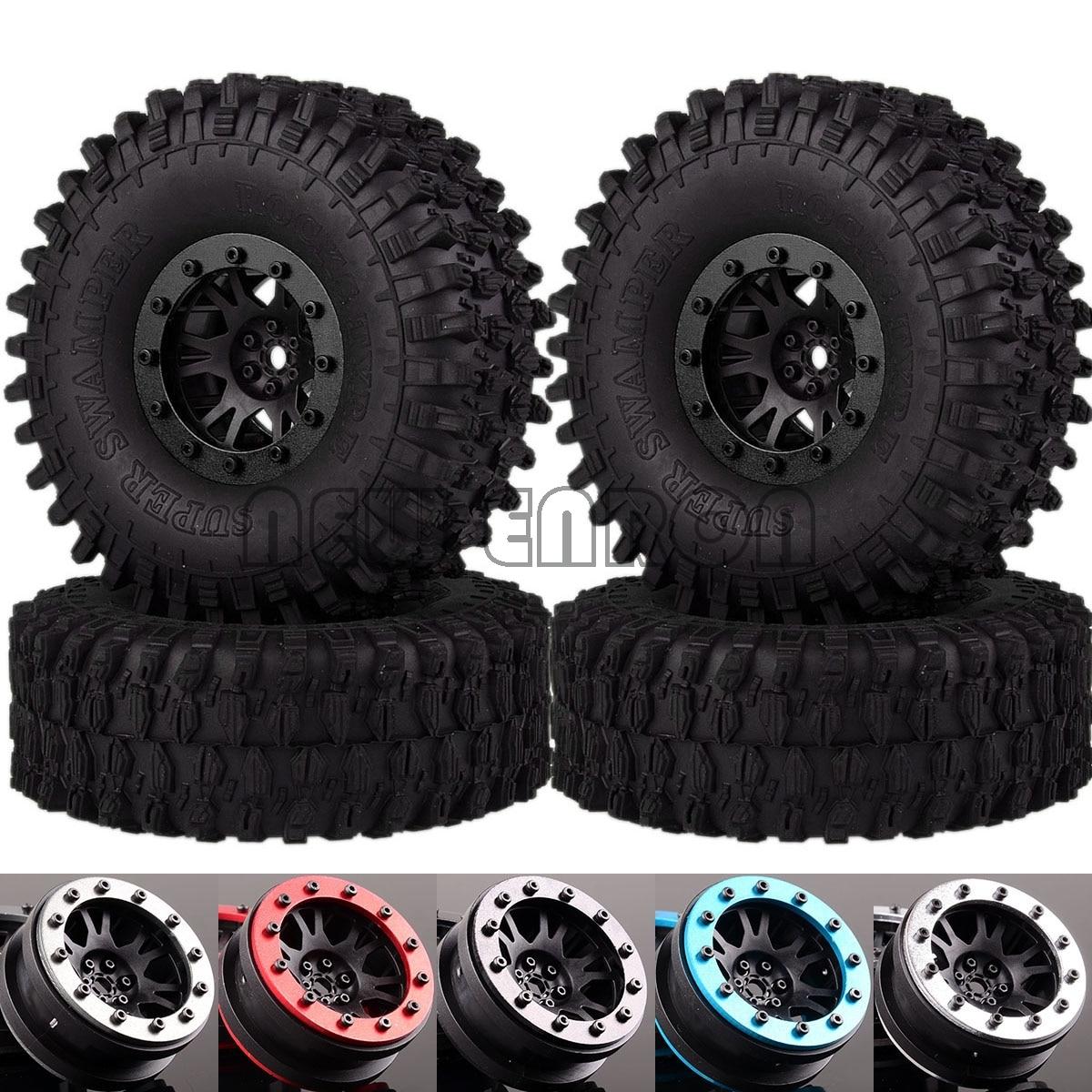 "NEW ENRON 4P 1.9"" Metal Beadlock Wheel Rim 120MM Tires Tyre For RC 1/10 Crawler 90047 D110 TF2 TRX4 Tamiya CC01 TF2 D90 D110(China)"