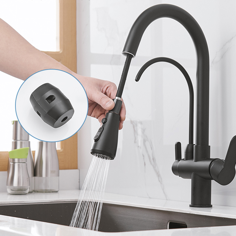 Rozin Purification Kitchen Faucets Black Pull Out Kitchen Water Filter Tap 3 Way Mixer torneira para cozinha de parede Crane 3