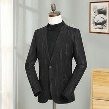 Europe Men Black Stripes Blazers Slim Fit Full Sleeve Blazer Jacket Male Smart Casual Business Suit Costume Fashion Wool Coat