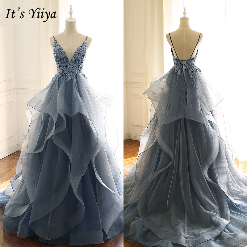 It's Yiiya Evening Dress 2019 Spaghetti Strap Backless Appliques Ball Gown Fashion V-Neck Train Lace Tiered Formal Dresses E934