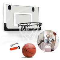 Steel Rim Mini With Ball Sports Wall Hanging Basketball Hoop Set Transparent Office Children Punch Free Shatterproof Backboard