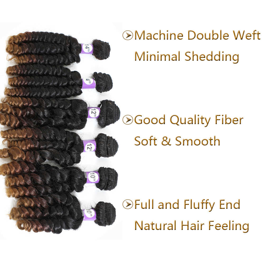 Synthetic Ombre Bouncing Curly Hair Bundles T30 6 Bundles All In One Pack 200g Funmi Hair Weaves Bouncy Curly Hair Extensions