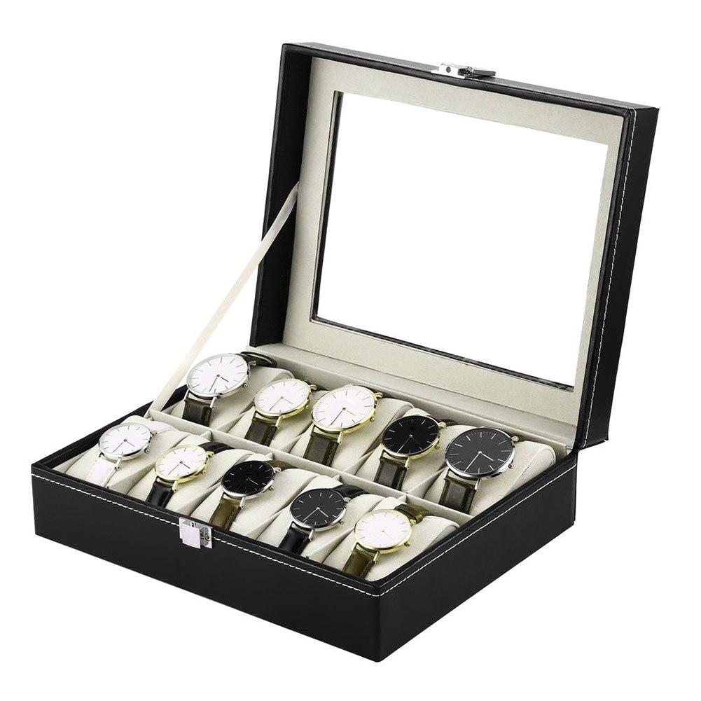 10 grades caixa de relógio de pulso titular couro do plutônio relógios exibição caso retângulo jóias caixas de armazenamento alta qualidade ser88