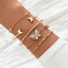 Yobest boêmio strass borboleta pulseiras elegante manguito bangle para mulheres cor de ouro corrente pulseira define vintage boho jóias