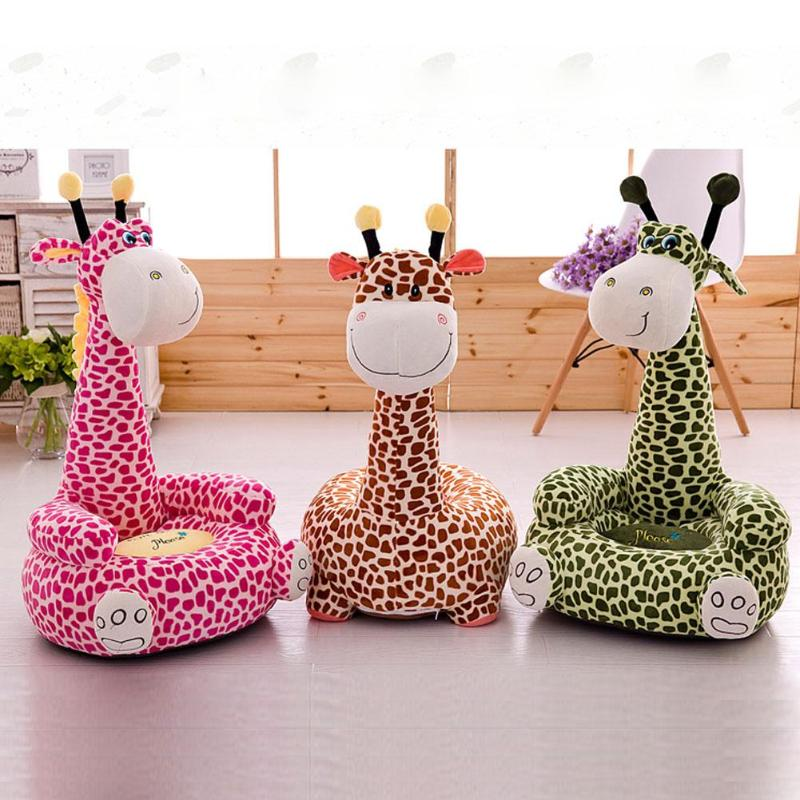 Washable Plush Sofa Chair Cover Without Filling Cotton Cartoon Giraffe Shaped Baby Seat Cover Dustproof Home Textile Decoration