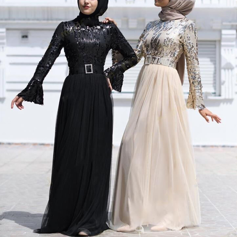 Muslim Dress Sequin Abaya Dubai Abayas For Women Hijab Dress Kaftan Caftan Turkish Dresses Evening Robe Islamic Clothing Kleding