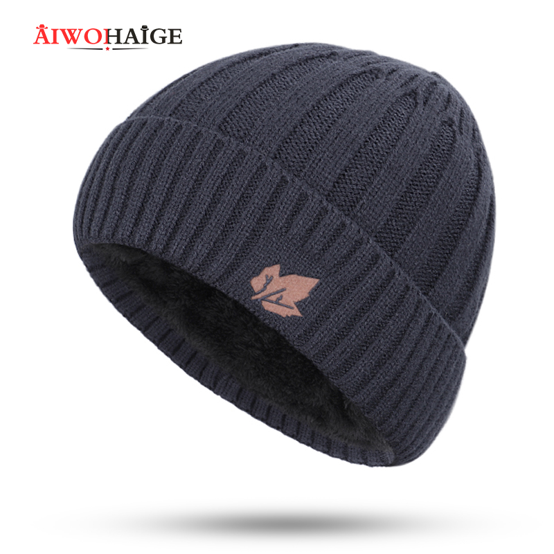 2019 The New Multi-piece Hat Winter Man Caps Warm Thicken Hedging Cap Knit Beanie  2 Pieces Set Plush Wholesale Unisex Vintage