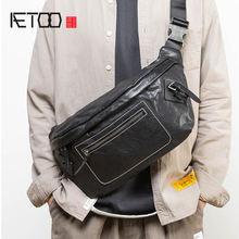 Кожаная нагрудная сумка aetoo Мужская вместительная простая