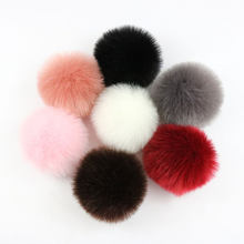 Grands pompons de fourrure de renard véritable 10cm, bricolage, Pompon de fourrure de raton laveur, boules de fourrure naturelle pour chapeaux, sacs, chaussures, écharpes, accessoires