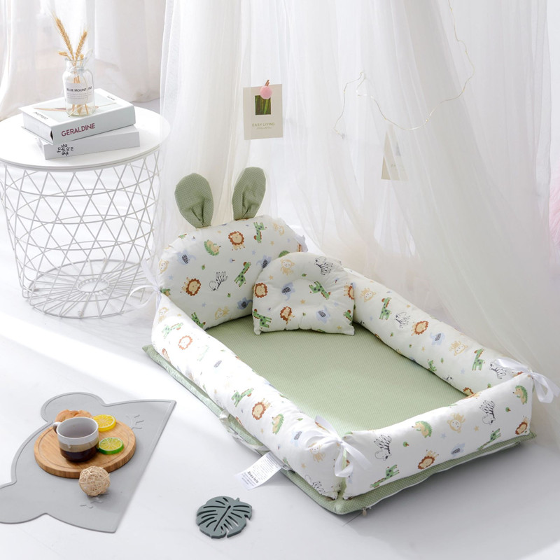 Baby Lounger Bassinet Baby Nest 100% Soft Cotton Newborn Lounger Portable Crib Baby Bed for Travel and Co-Sleeping 0-12 Month