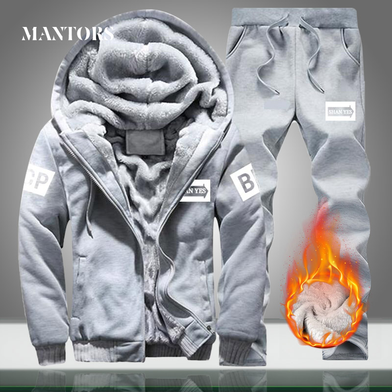 Winter Warm Men Sets Hooded Fleece Casual Tracksuit Men's Sportswear Two Piece Sets Hoodies+Sweatpants Thick Outwear Jacket Suit