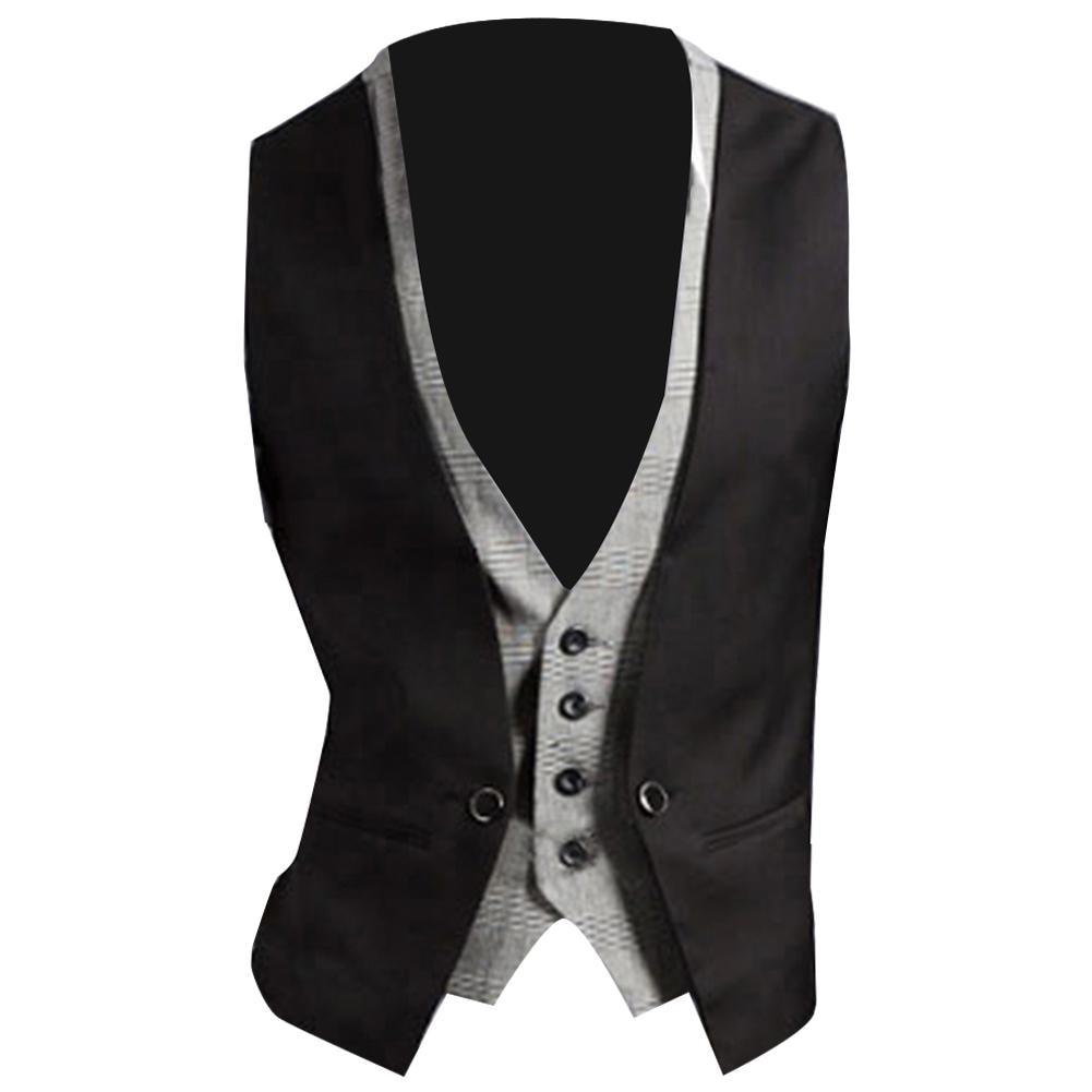 Men Formal Waistcoat Vest Business Solid Color Single Button Vest Gilet Fake Two-pieces V Neck Casual S-lim Two Piece Waistcoat