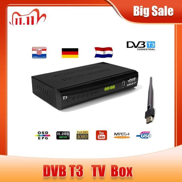 Vmade DVB T2 Receiver 1080PทีวีDVB T2 H.265 Terrestrial RececiverถอดรหัสDvb t2ชุดกล่องด้านบนพร้อมUSB wiFiสนับสนุนYoutube