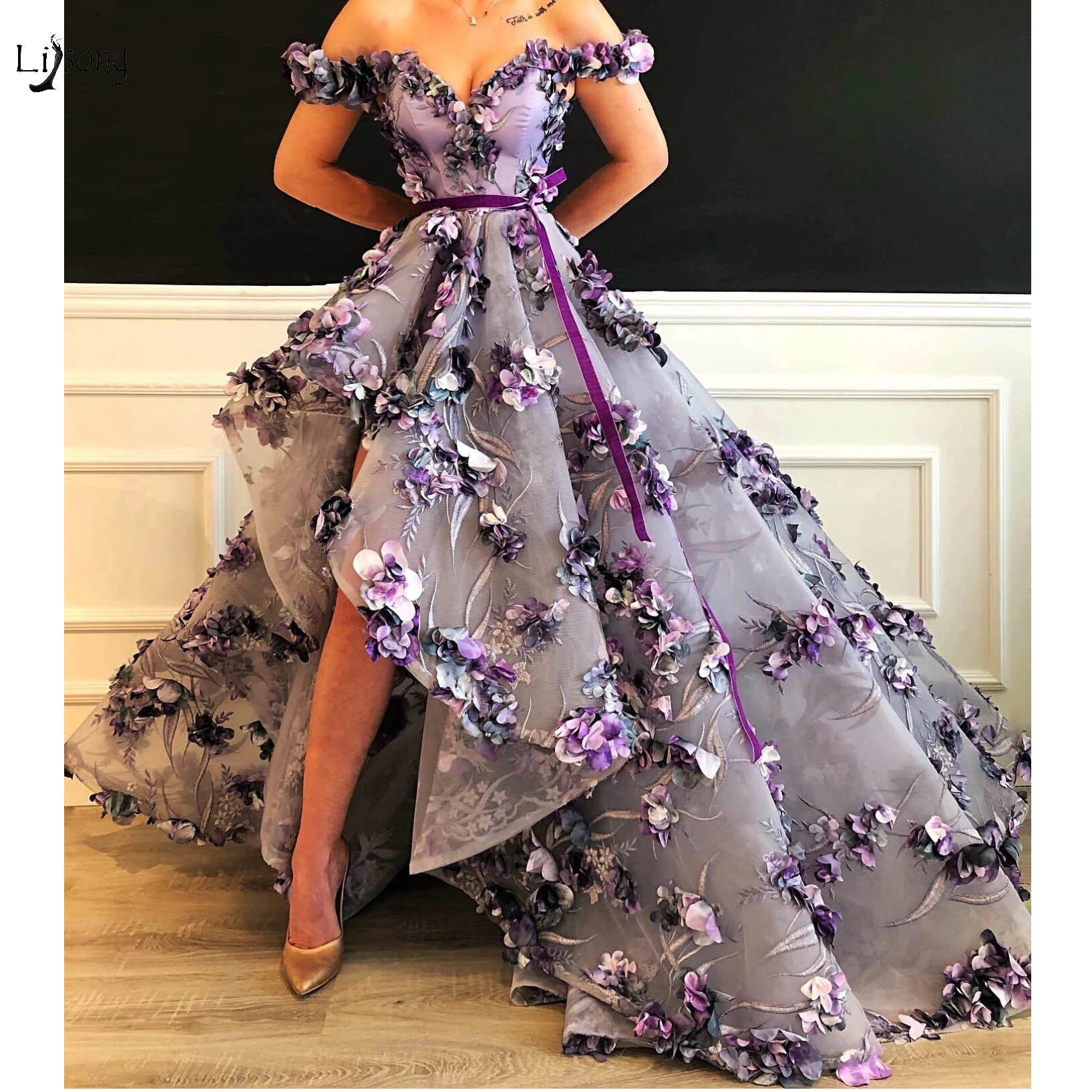 Abendkleider 2019 Purple Flora Lace High Low Prom Dresses Appliques Pretty Long Prom Gowns Off The Shoulder Formal Dresses