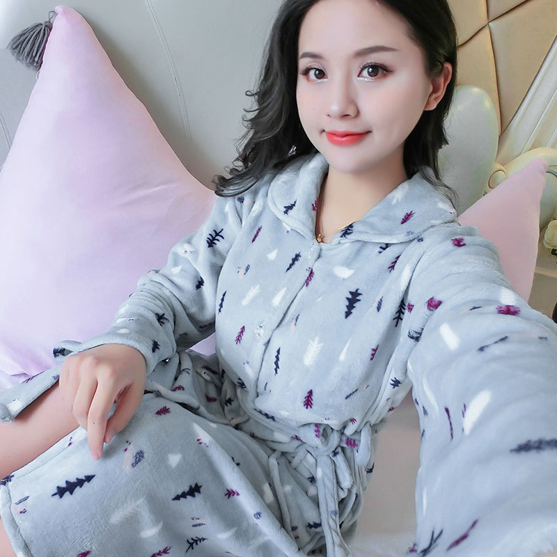 1304 # Gray Blue Blue And White Tree Flannel One-Piece Women's Robes Women's Tracksuit Autumn & Winter Thick Fold-down Collar Pa
