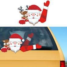 Car Rear Window Santa Claus Wiper Sticker Christmas Styling Funny Waving Arm Windshield Decals Auto Decoration