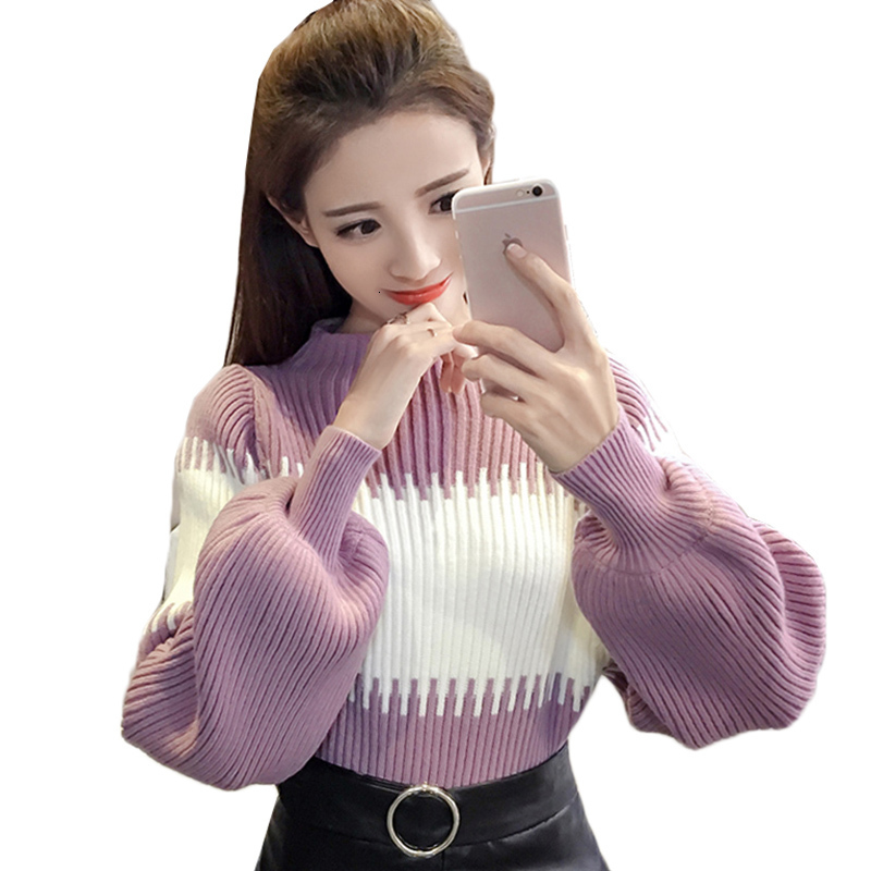 Autumn Women Sweater Pullover New Fashion Stitching Sweater Lantern Sleeve Elastic Knit Bottoming Shirt Casual Female Tops AA918