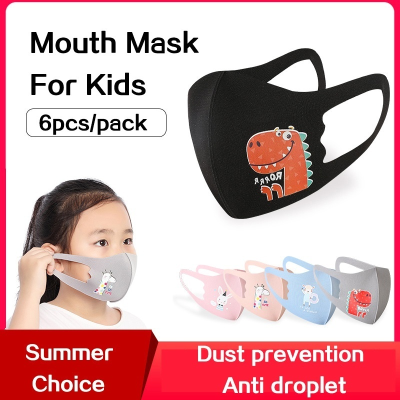 6pcs/pack Cartoon Pattern Face Mask For Kids Between 3~12 Years Old Ice Clothes Washable Face Mask Children's Cloth Mask