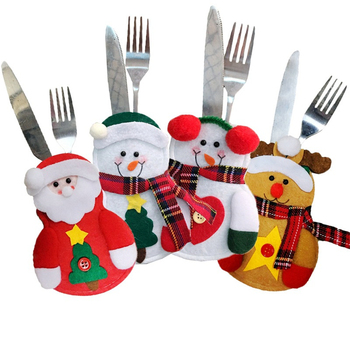100 pcs Christmas Snowman Tableware Holder Elk Silverware Holder Pockets Set Knife and Fork Bags Xmas Party Dinner Table Decor