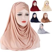 Forehead Cross Hair Wrap Scarf Solid Color Glitter Sequins Jersey Hijabs Muslim Headband Women Turban Hair Cap Headscarf 2021
