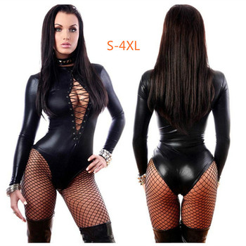 Erotic Sexy Latex Bondage Bodysuit  Sexi Teddy Lingerie Women Breast Exposing Jumpsuit Clothes Leather Catsuit Dress for Sex - discount item  30% OFF Exotic Apparel