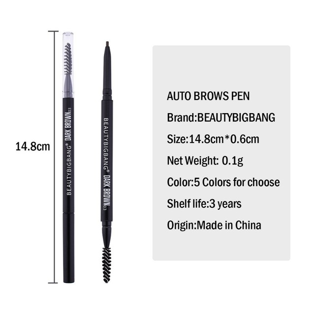 Beautybigbang Waterproof Eyebrow Pen Natural Four-claw Eye Brow Tint Makeup Pencil Brown Black Grey Double Brush 3