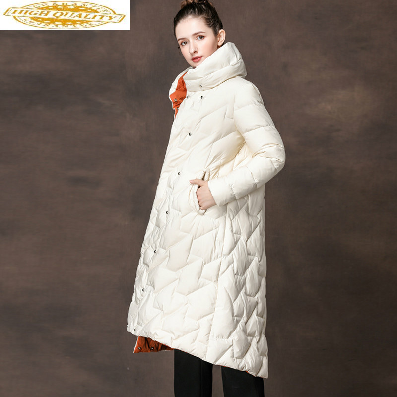 Women's Down Jacket 90% Long Coat Autumn Winter White Duck Down Jacket Women 2020 Chamarras De Mujer YMY18036 KJ2939