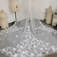 Luxurious 3D Flowers Wedding Veils Long Cathedral Appliques Bridal Veil 2020 new Wedding Accessories 3M Width Tulle