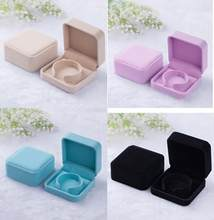90*90*40mm velvet jewelry box sample bracelet bangle box gift box Jewelry Packaging Display full blue color(China)