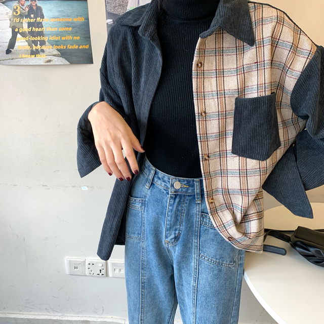 harajuku corduroy blouse women long sleeve autumn new tops and blouses casual vintage streetwear cargo shirts camisas mujer 1
