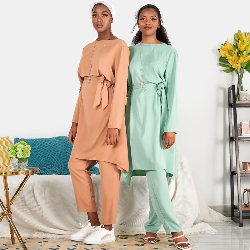 Summer Matching 2 Piece Sets Outfit Women Muslim Eid Solid Color Long Sleeve Irregular Hem Tops Shirt Tunic Long Pants Bottoms